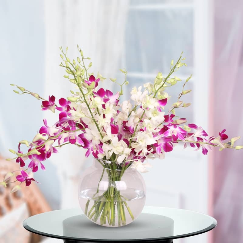 Glass Vase of Orchids for Mom