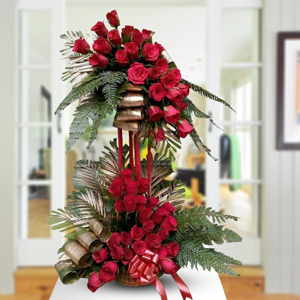 Two Tier Floral Arrangement of Red Roses