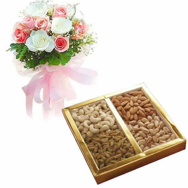 White and Pink Roses and Assorted Dry Fruit Box