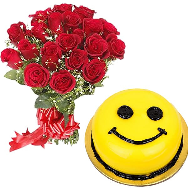 A Bunch of twenty red roses with 1/2 Kg. Smiley Pineapple Cake.