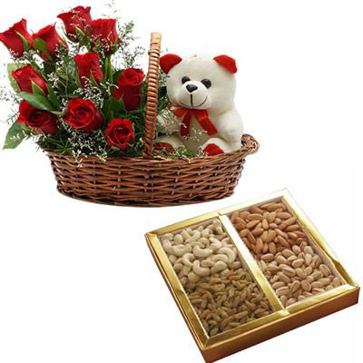 Assorted Dry fruit box & a basket with red roses and a teddy