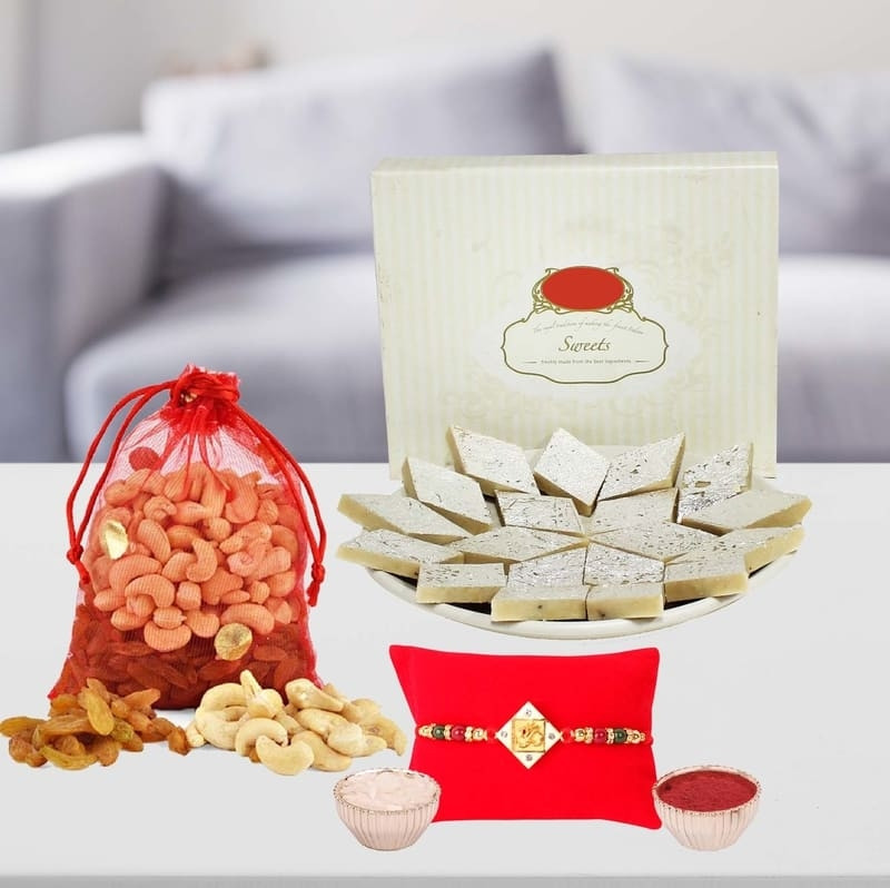 Om Studded Rakhi with Sweets & Dry Fruits