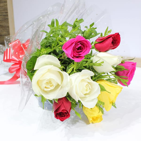 Flower Bunch of Mixed Color Roses