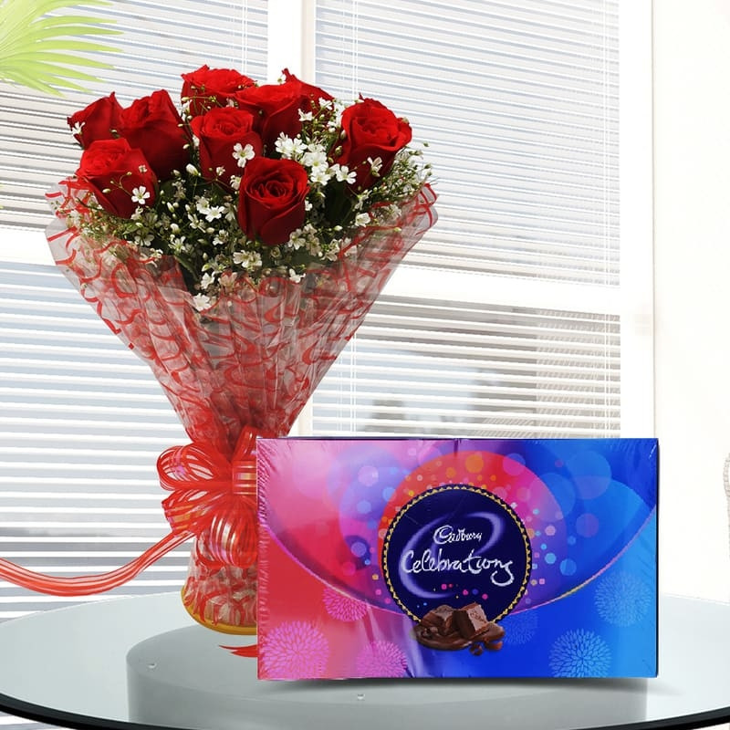 Red roses Bunch with Cadbury's Celebration Chocolate box