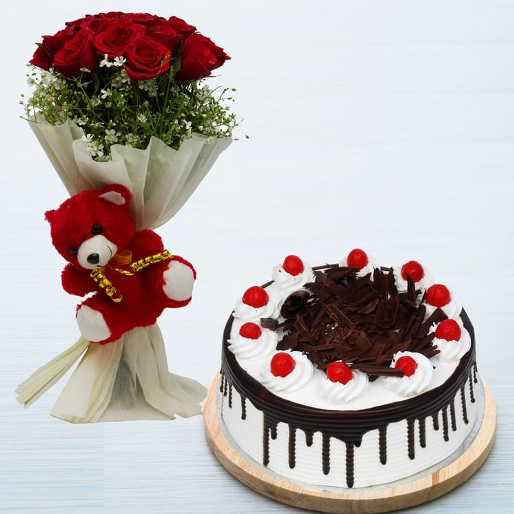 Bunch of 12 Red Roses with Red Teddy and Black Forest Cake
